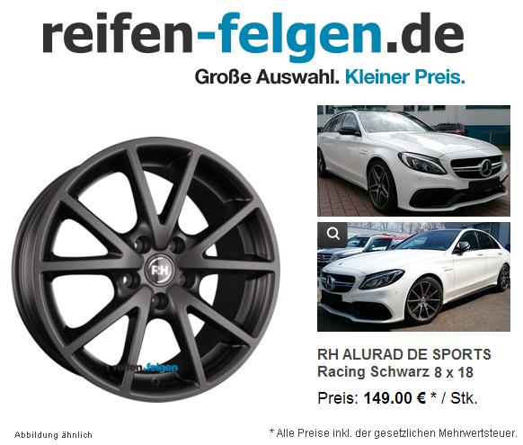RH Alurad De Sports 8x18 für CKlasse W/S205 AMG