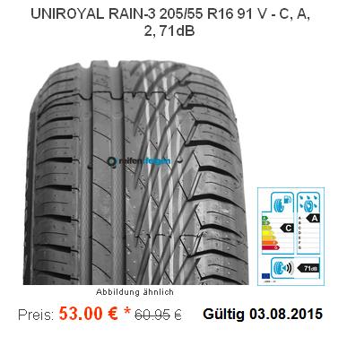 uniroyal rainsport 3 205 55 r16 91v nur 53 eur reifen. Black Bedroom Furniture Sets. Home Design Ideas